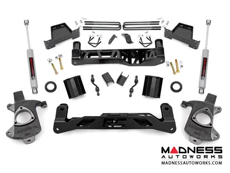 "Chevy Silverado 1500 2WD Suspension Lift Kit w/ N3 Shocks & Lifted Struts - 7"" Lift - Aluminum Stamped Steel"